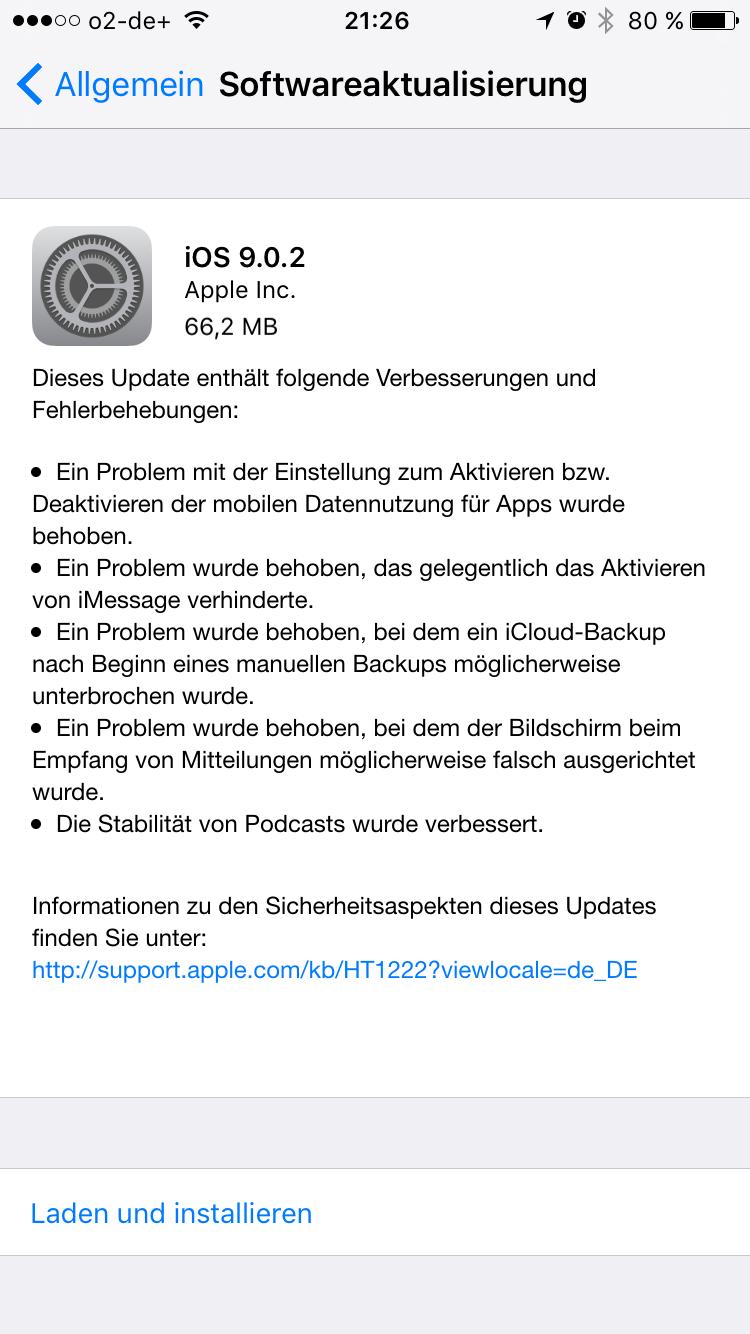 iOS 9.0.2 Update