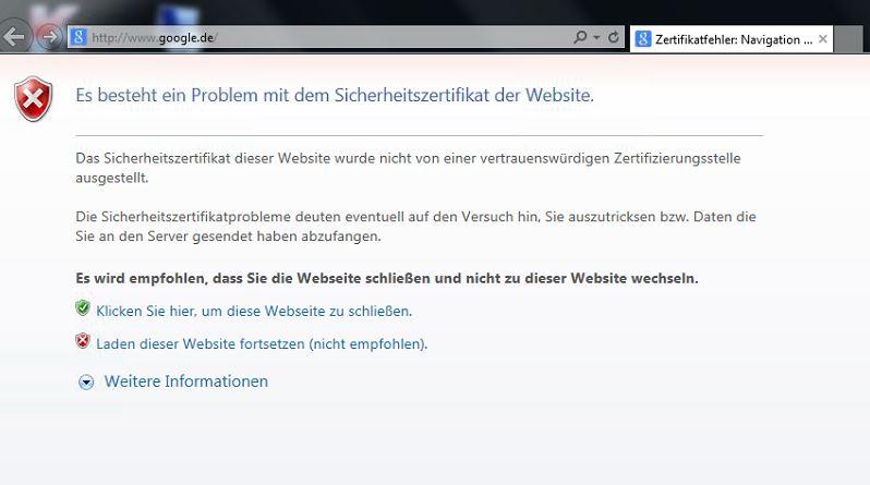 Es besteht ein Problem mit dem Sicherheitszertifikat der Webseite