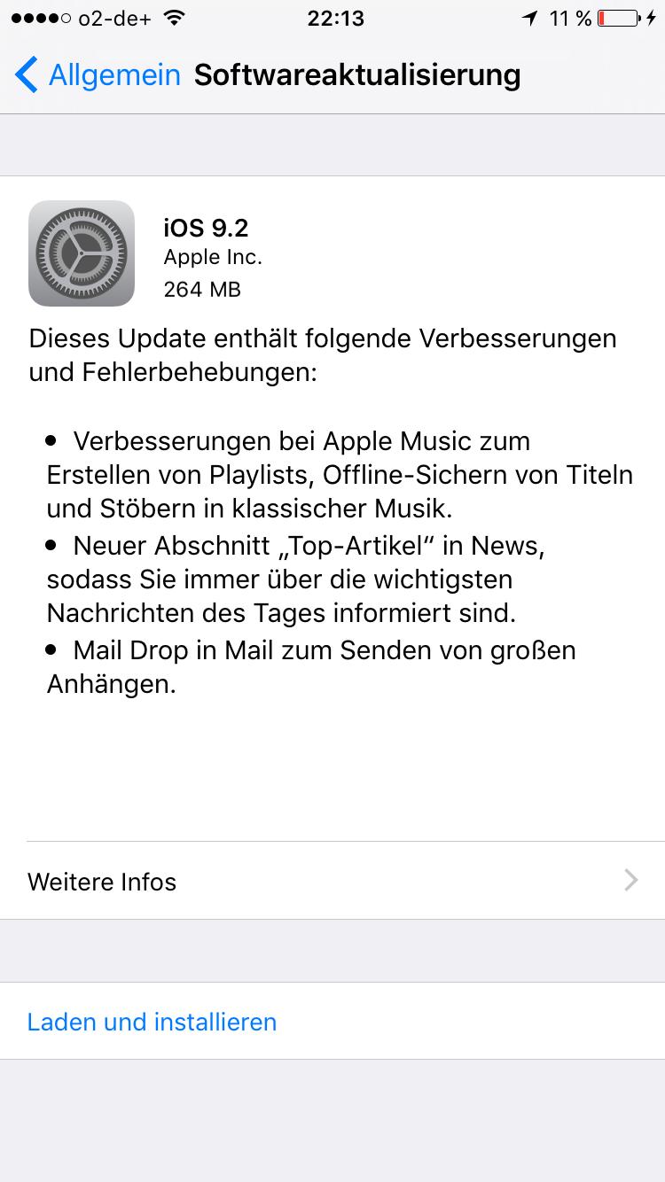 Apple stellt das iOS 9.2.0 Update zum Download bereit
