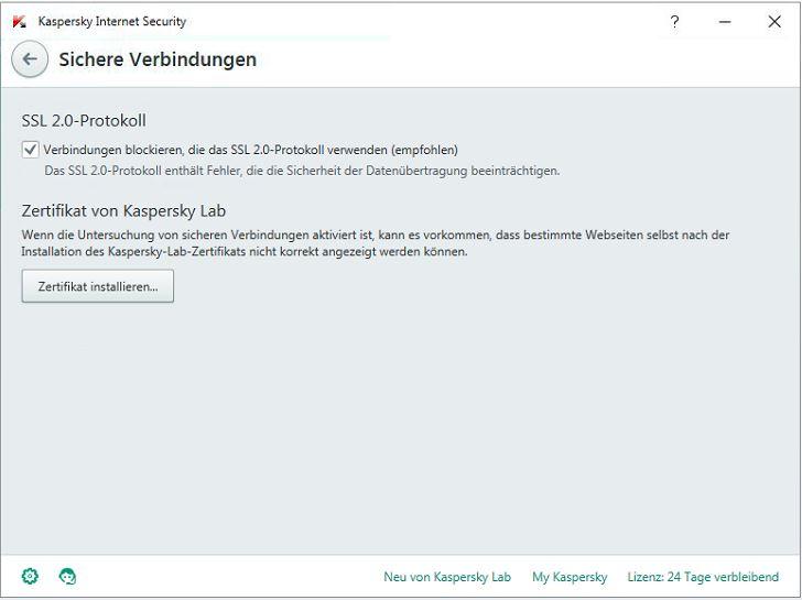 Kaspersky Internet Security 2016 - Zertifikat installieren