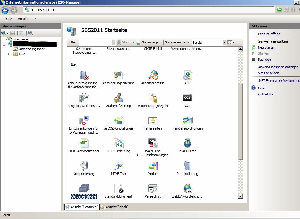 Internetinformationsdienste IIS Manager