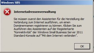 Windows SBS Internetadressenverwaltung