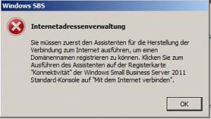 Windows SBS Internetadressenverwaltung