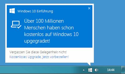 Windows10 Upgrade Pop-Up