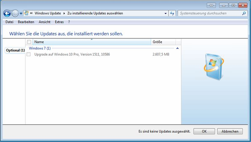 Windows10 Upgrade in Windows Updates ausgeblendet