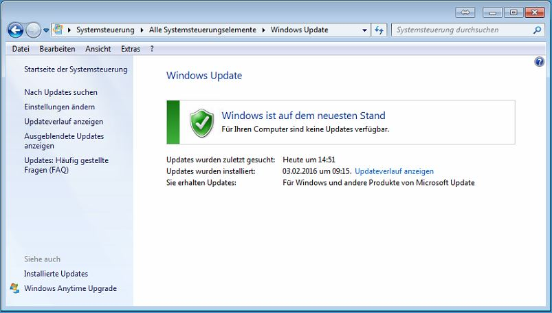 Windows10 Upgrade in Windows Updates deaktiviert