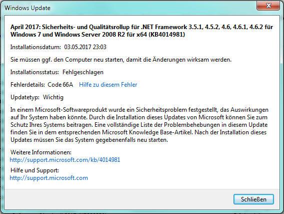 .NET Framework Update Code 66A