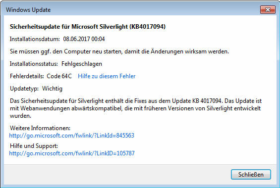 Windows Update Error Code 64C Silverlight