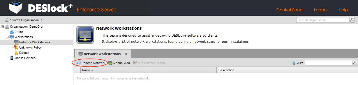 Wie sende ich eine Push-Installation von DESlock