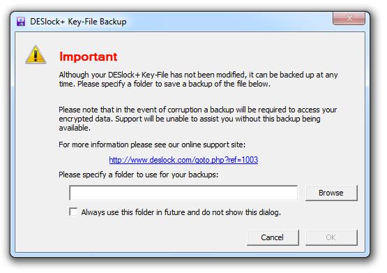 Wie kann ich meine DESLock Schlüsseldatei sichern