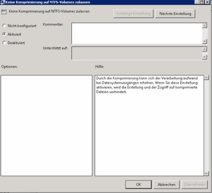 Aktivieren / Deaktivieren der NTFS-Komprimierung