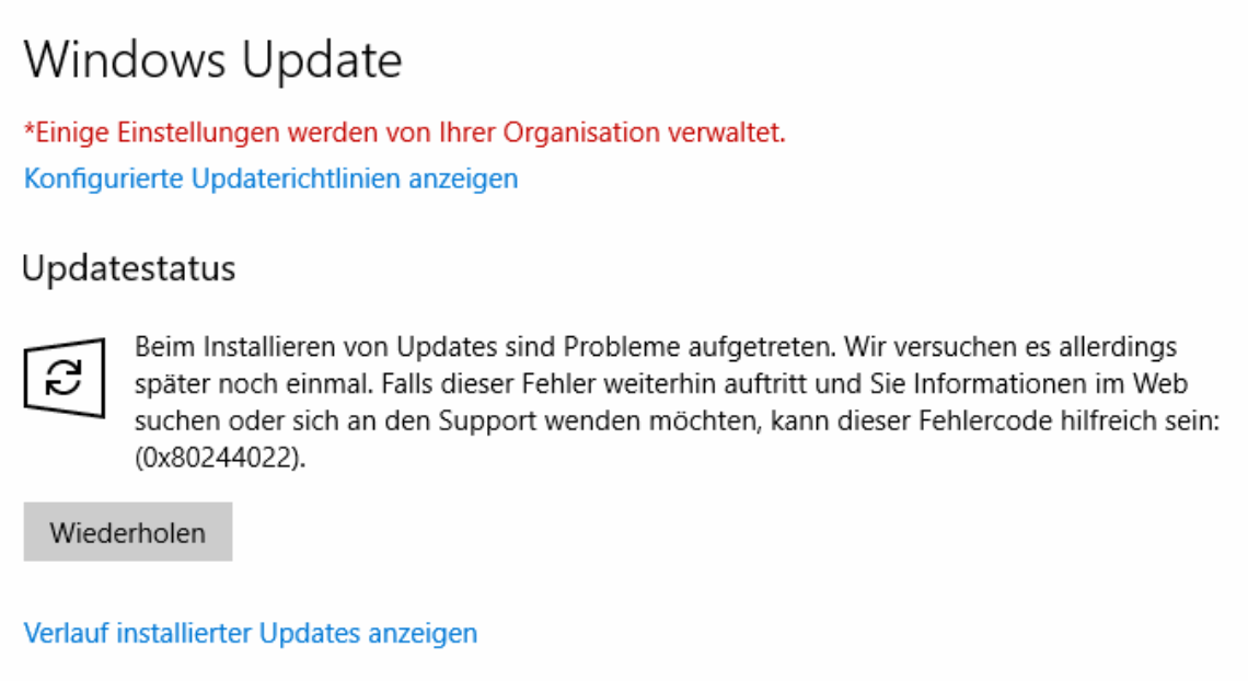 Windows Update Fehler 0x80244022 beheben