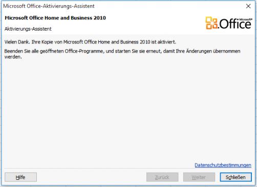 Telefonische Aktivierung für Microsoft Office 2010