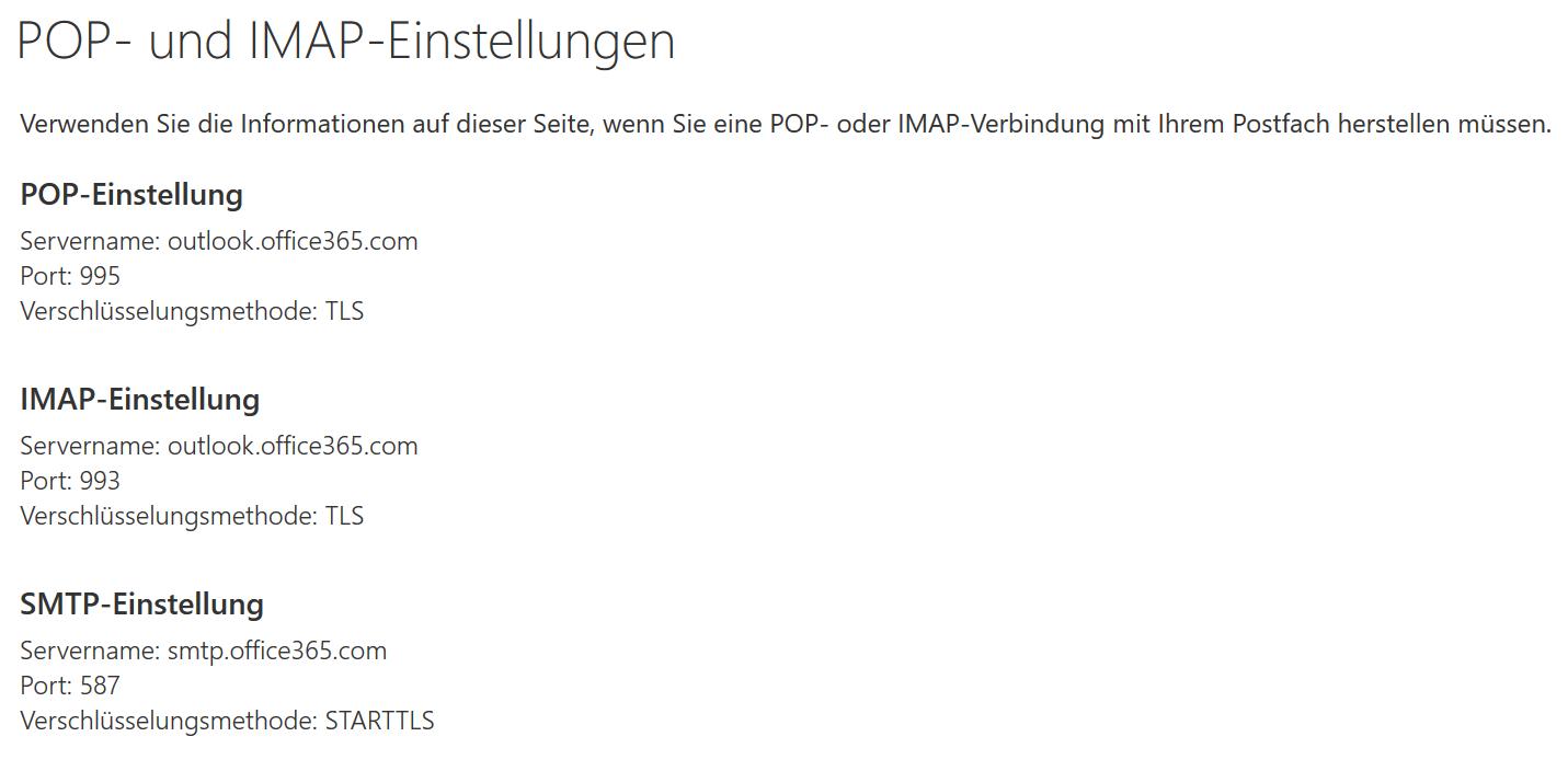 Office365 SMTP-, POP3- und IMAP-Einstellungen
