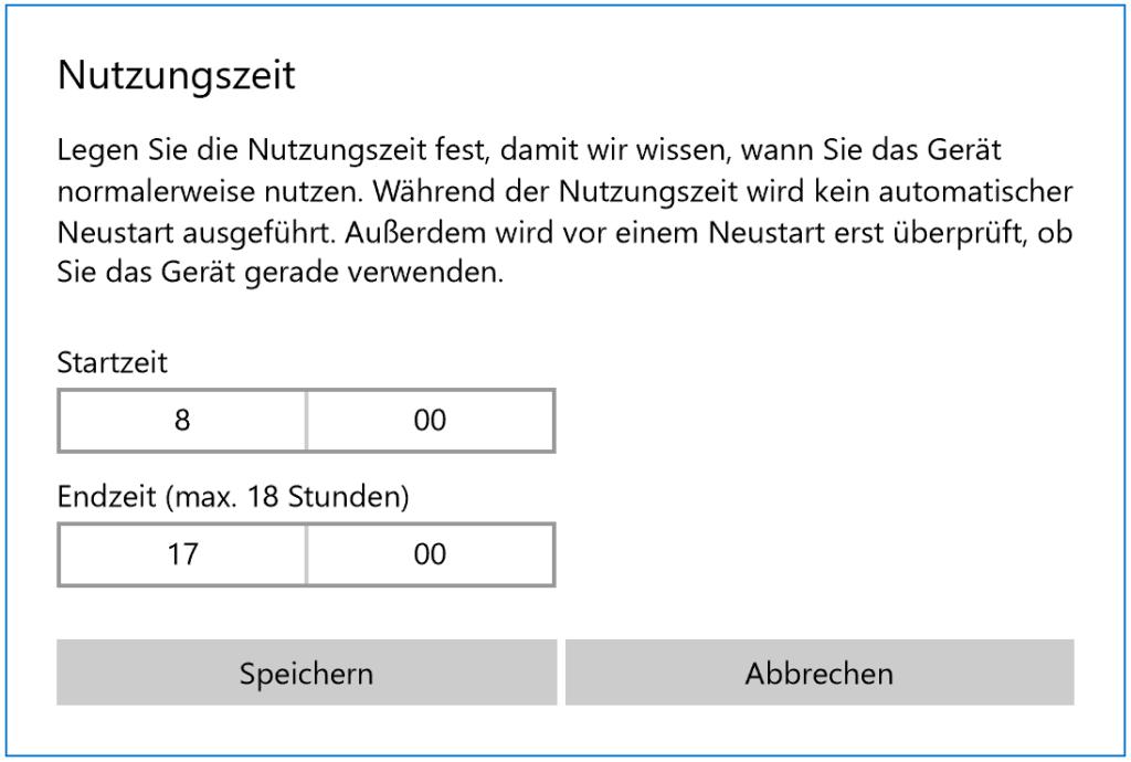 Einstellen der Nutzungszeit in Windows 10