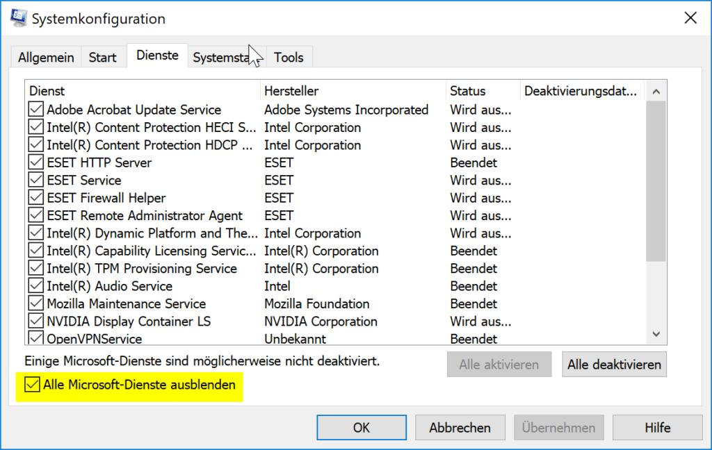 Ausführen eines Clean Boot unter Windows 10