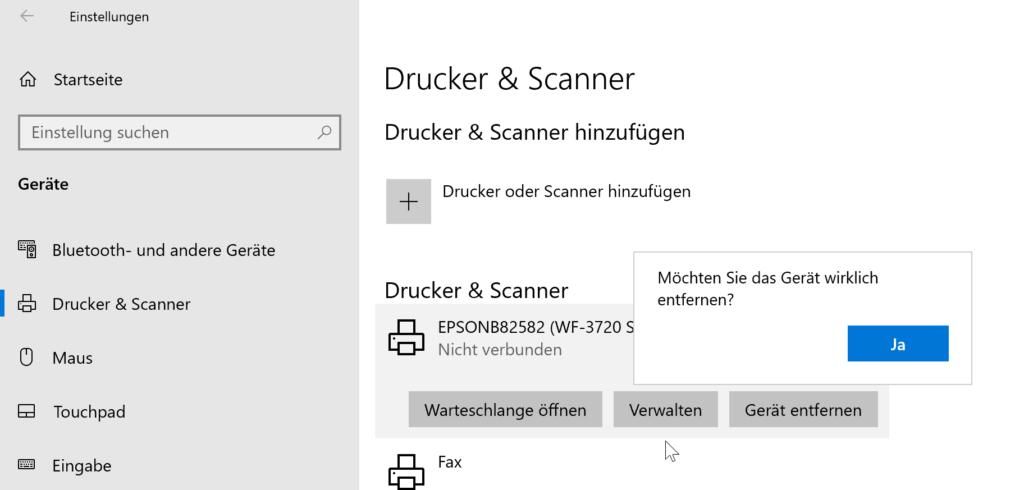 Drucker unter Windows 10 vollständig deinstallieren