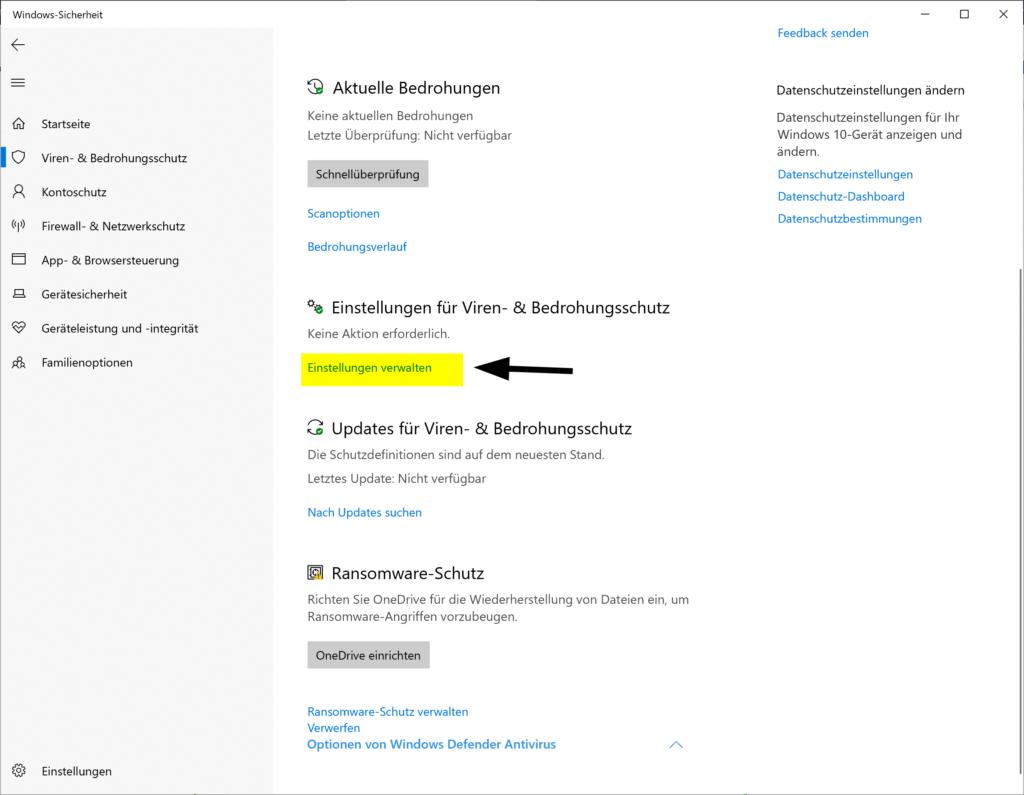 Hinzufügen eines Ausschlusses zur Windows-Sicherheit in Windows 10
