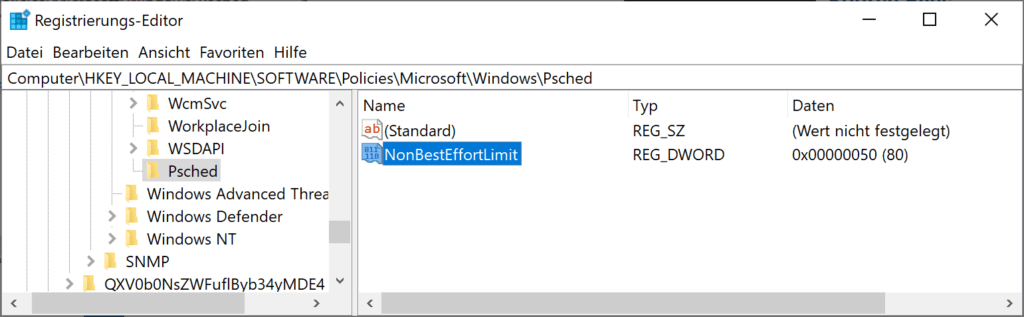 Konfigurieren Sie die reservierbare Bandbreite in Windows 10/8/7