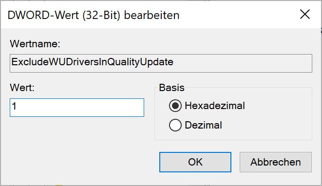 Treiberaktualisierungen in Windows 10 deaktivieren