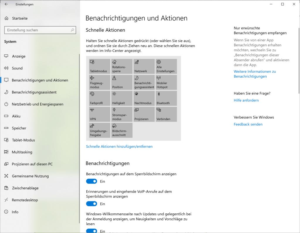 Aktivieren / Deaktivieren von Benachrichtigungen in Windows 10