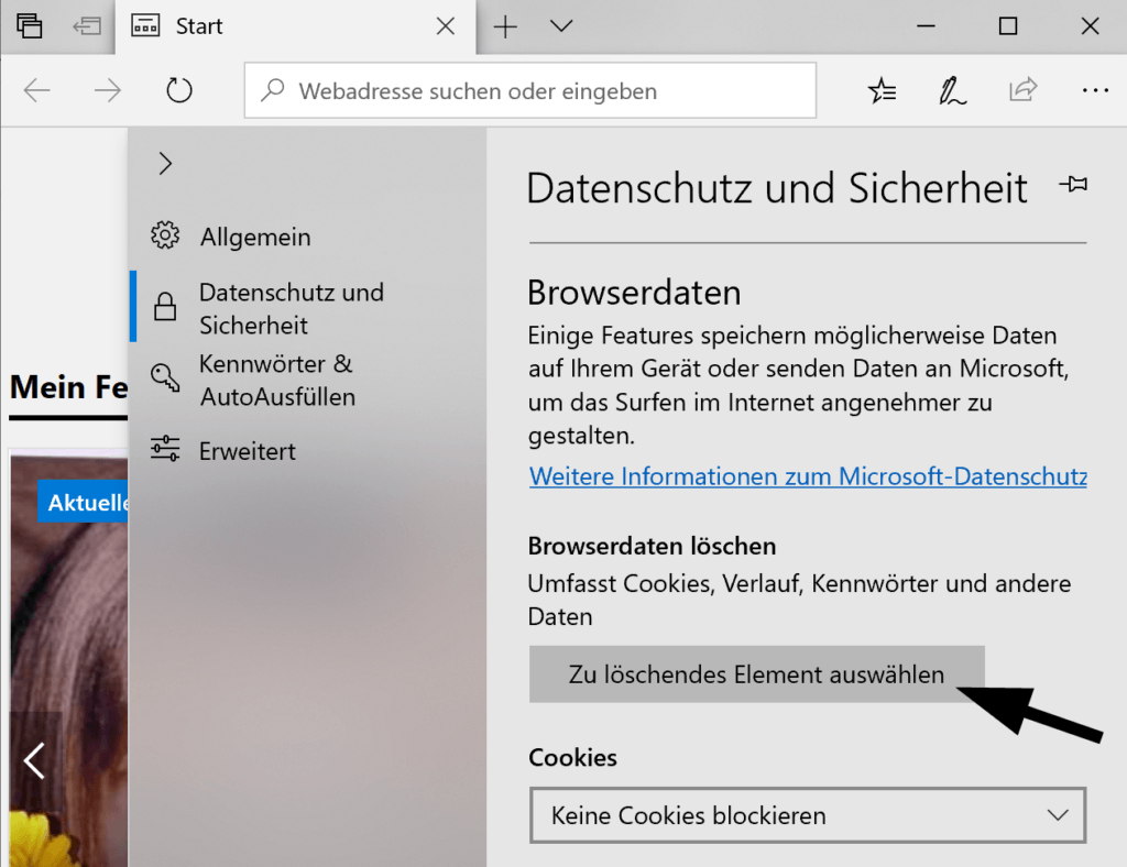Browserdaten in Microsoft Edge löschen