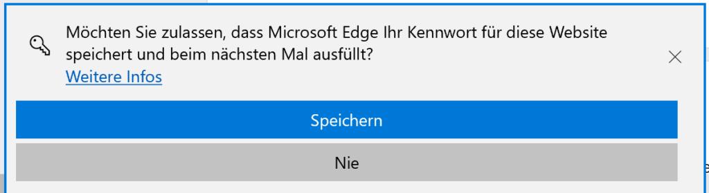 Zulassen oder verhindern das Microsoft Edge Kennwörter speichert