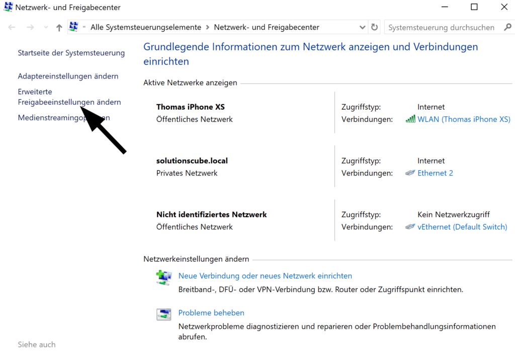 Konfigurieren der Netzwerkerkennung in Windows 10