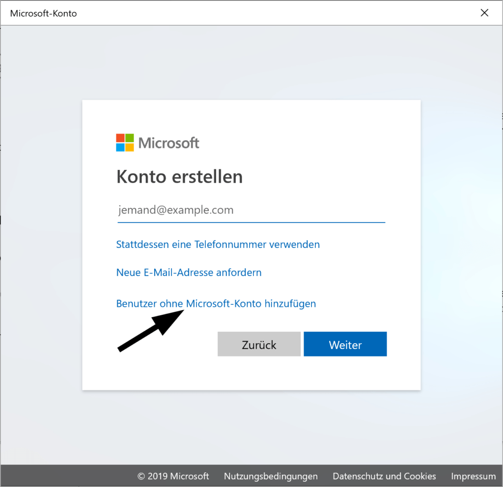 Lokales Benutzerkonto unter Windows 10 erstellen