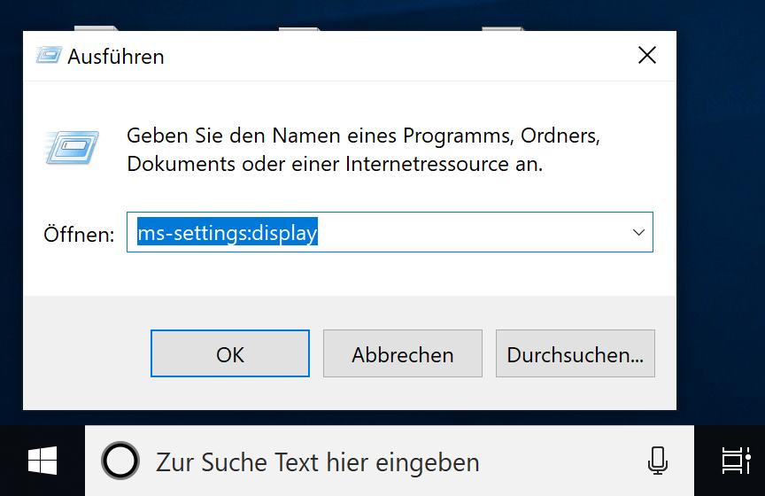 Verschiedene Einstellungen direkt unter Windows 10 aufrufen