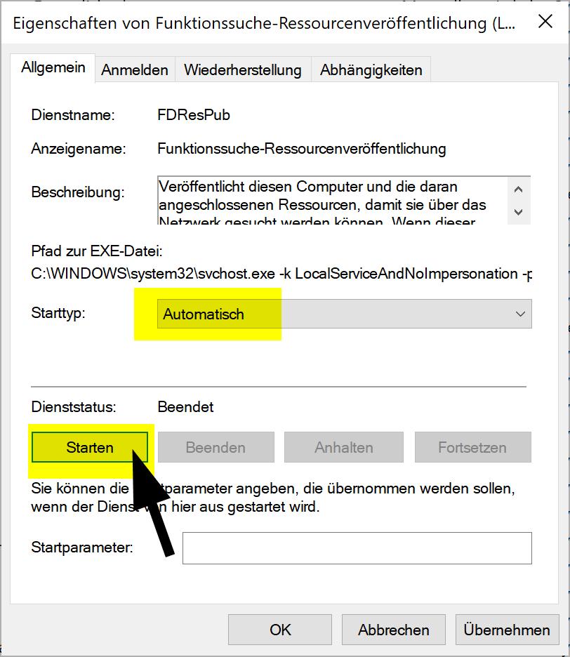 Windows 10 Explorer zeigt keine Netzwerkcomputer an