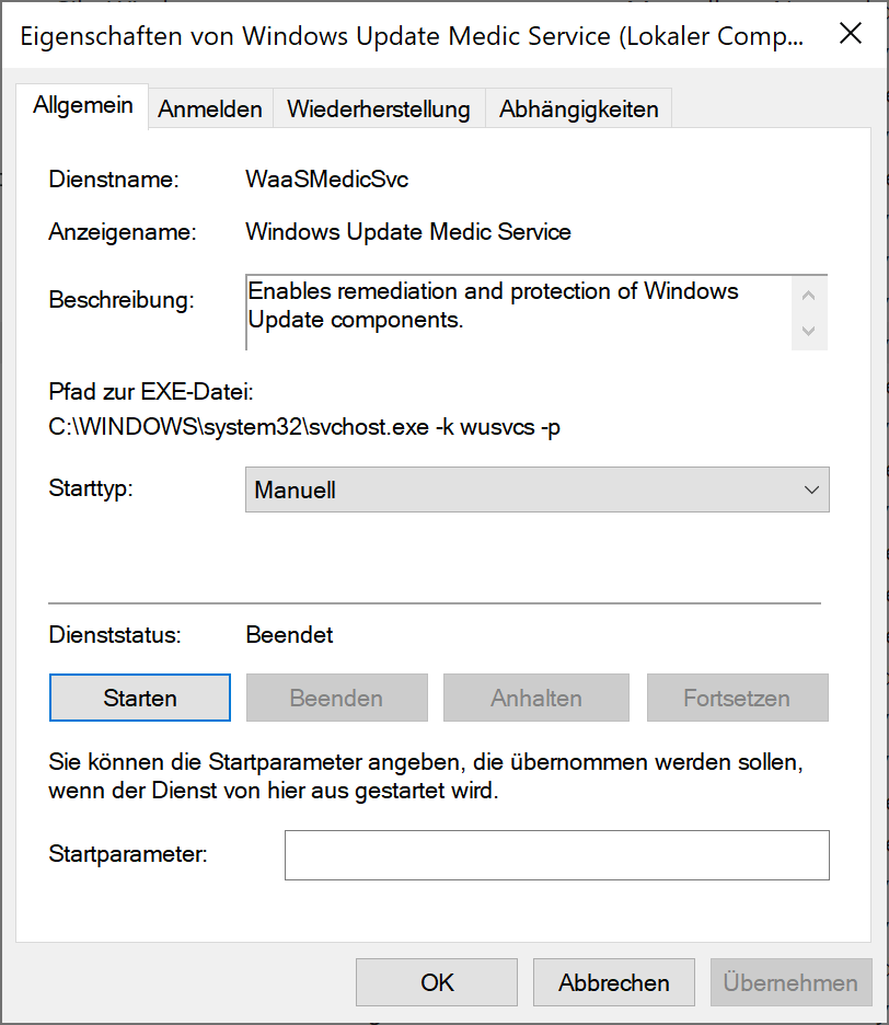 Windows Update Medic-Dienst in Windows 10 konfigurieren