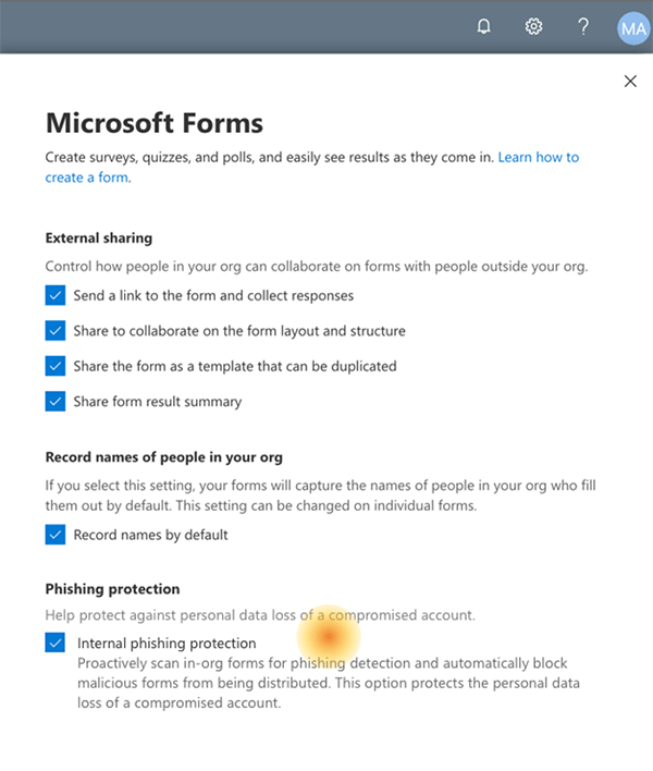 Neue Funktion: Automatische Phishing-Erkennung in Microsoft Forms für Unternehmens-Organisationsformulare