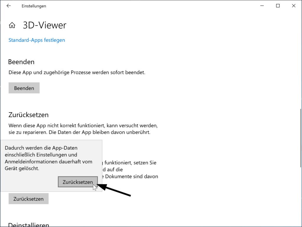Apps in Windows 10 zurücksetzen