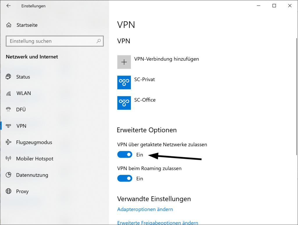 VPN über getaktete Netzwerke im Betriebssystem Windows 10 aktivieren oder deaktivieren