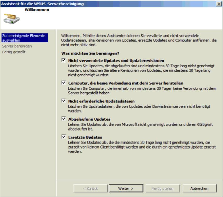 WSUS Server bereinigen