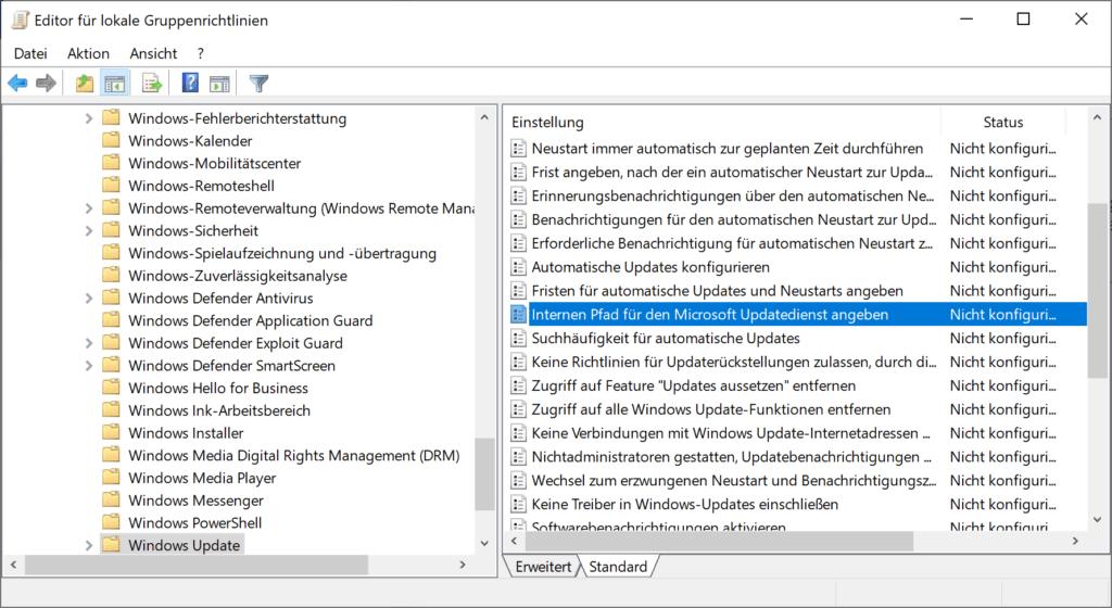 internen Speicherorts für den Microsoft Updatedienst in Windows 10