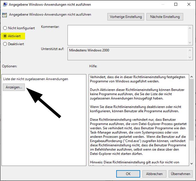 Blockieren Sie die Ausführung eines Programms unter Windows 10