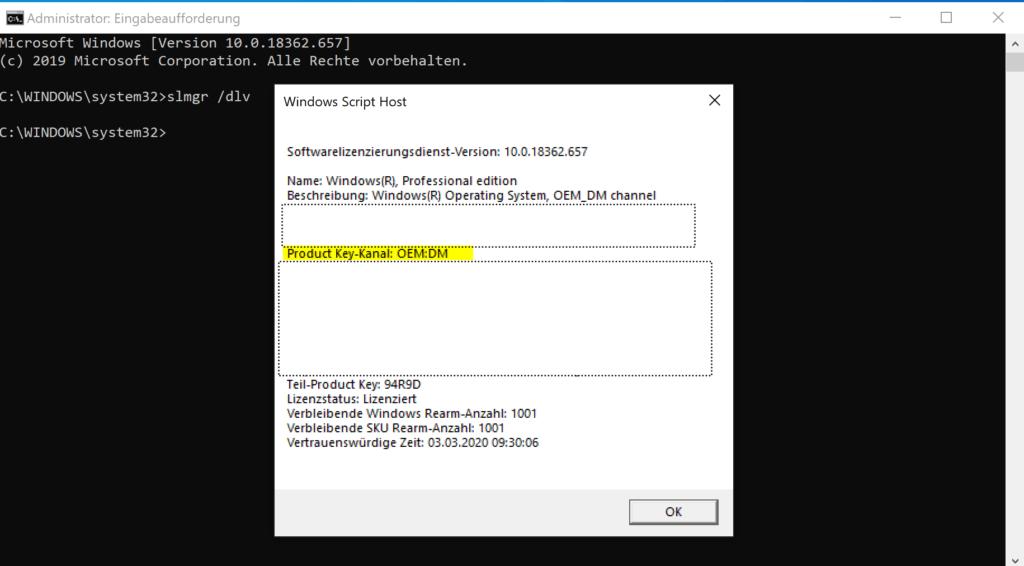 Windows 10-Lizenztyp überprüfen