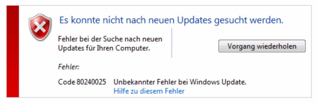 Windows Update Fehlercode 80240025
