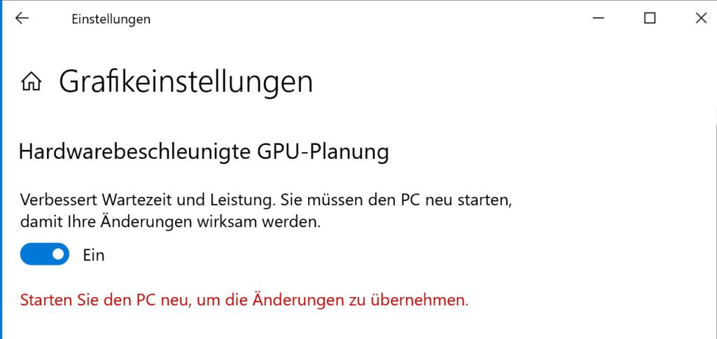 Aktivieren Sie die hardwarebeschleunigte GPU-Planung in Windows 10