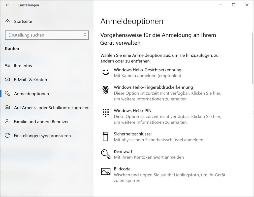 Anmeldeoptionen in Windows 10 aktivieren oder deaktivieren