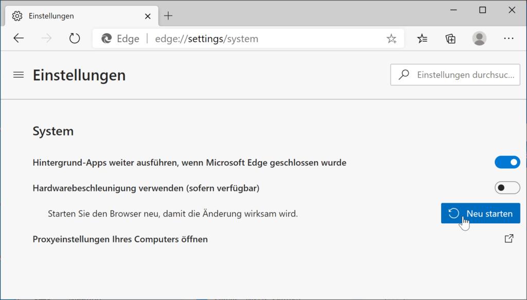 Konfigurieren der Hardwarebeschleunigung in Microsoft Edge