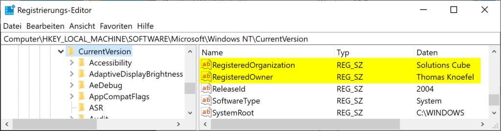Namen des registrierten Besitzer und der Organisation im Windows 10 ändern