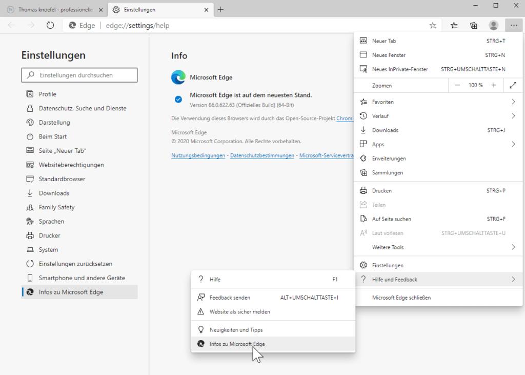 So aktualisieren Sie den Microsoft Edge Chromium Browser