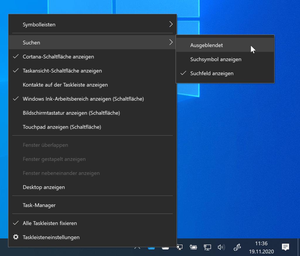Suche und Cortana aus der Windows 10-Taskleiste entfernen