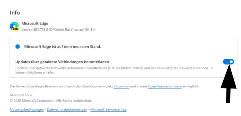 Updates über getaktete Verbindungen in Microsoft Edge (Chromium) herunterladen