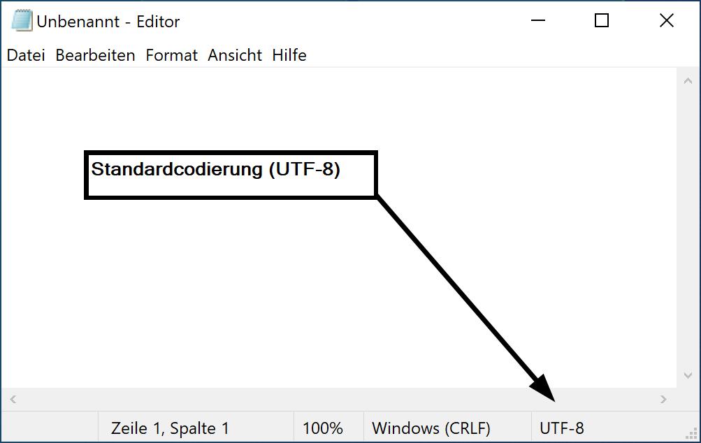 Standardcodierung im Editor für Windows 10 ändern