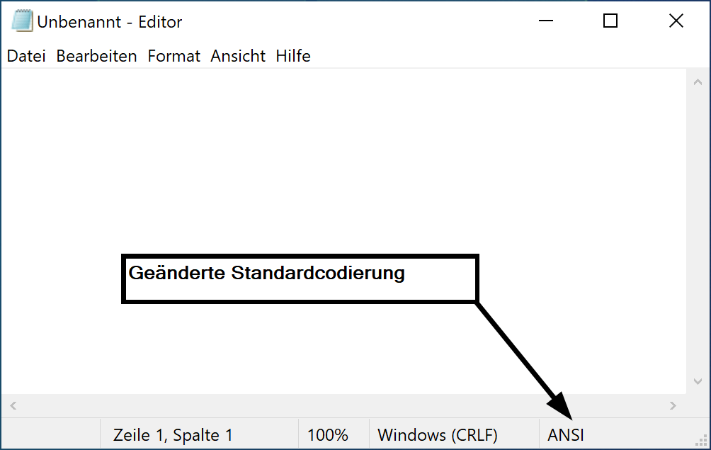 Standardcodierung im Editor für Windows 10 ändern