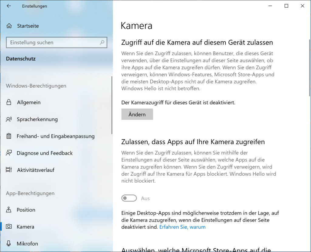 Webcam in Windows 10 deaktivieren
